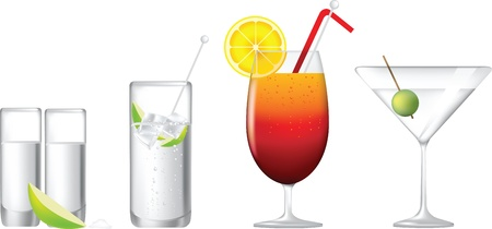 cocktails, gin and tonic, tequila sunrise, martini and tequila shot Illustration