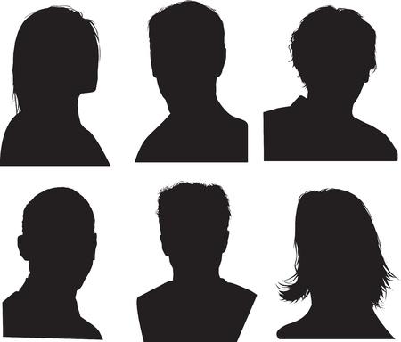 silueta humana: conjunto de siluetas de jefes, altamente detallados en negro