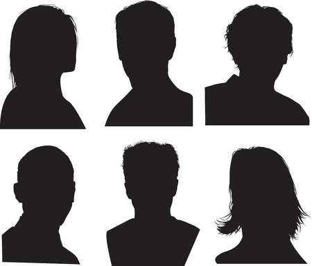 black outline: set of silhouettes of heads, highly detailed in black