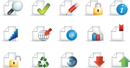 business document icon set representing workplace and communication and useful office symbols Vector
