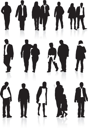 backwards: A group of black silhouettes, highly detailed of people in different walking positions