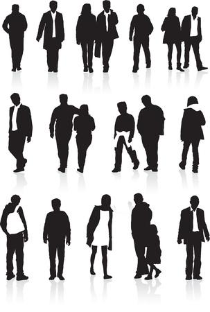 backwards: Een groep zwarte silhouetten, zeer gedetailleerd van mensen in verschillende posities walking Stock Illustratie