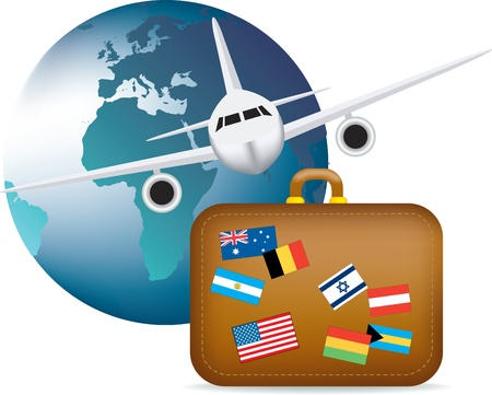 travel background: illustration to depict worldwide global travel and holidays