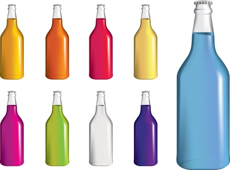 selection of brightly coloured fizzy or soda bottles on white background Vector