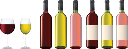 glass of red wine: Red, rose and white wine botles with and wothout labels and glasses