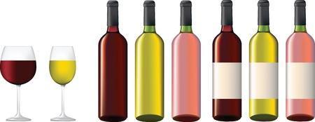 weingläser: Rot, Rosa und wei� Wein Botles mit und Wothout Etiketten und Gl�ser Illustration