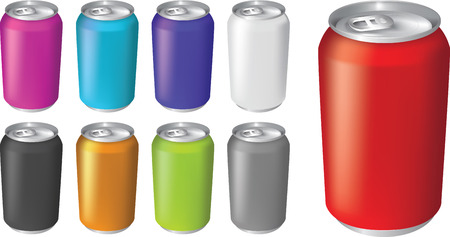 Plain kleur soda of koolzuurhoudende drank blikjes in verschillende kleurstellingen