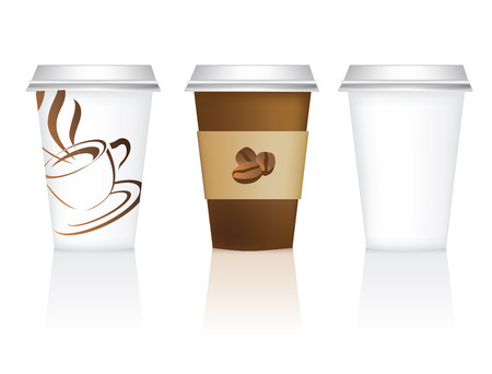 steaming: plain, and 2 designs for takeaway coffee cups Illustration