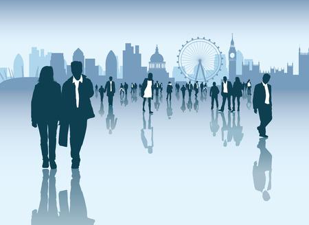 busy person: Paisaje urbano y el horizonte con multitud de empresas y gente normal caminando fuera