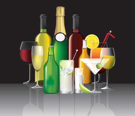 slammer: wine, cocktails and short drinks on black, illustration Illustration
