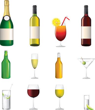 range fruit: wine, champagne, shorts, cocktails, illustrations of alcoholic drinks