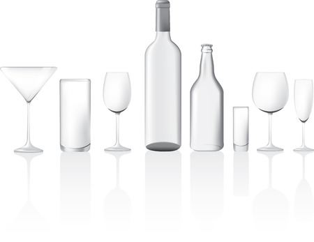 bottle cap: different shape and sizes of empty glasses and bottles, illustration Illustration