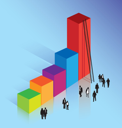 climbing the corporate ladder to business success Vector