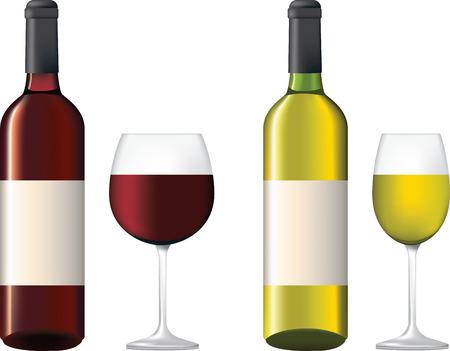 deyailed illustratie van flessen wijn met labels en glazen, rood en wit