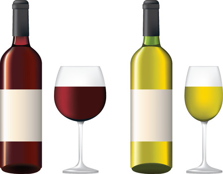 bottle of wine: deyailed illustration of bottles of wine with labels and glasses, red and white