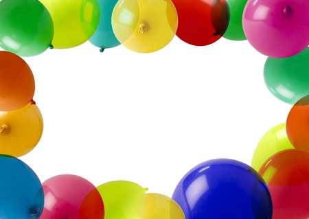 colored balloons forming a frame with white empty space in the middle