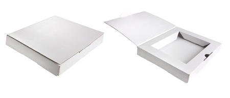 carboard box: white postage box open and with lid closed
