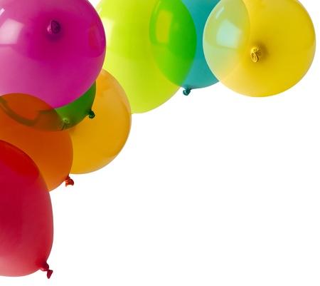 verjaardag ballonen: verschillende gekleurde ballonnen vormen een hoek frame
