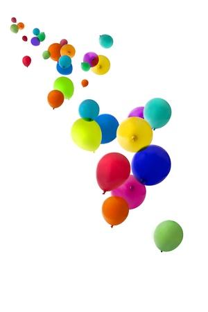 globos de cumplea�os: Globos de aislado en un fondo blanco flotando hacia arriba Foto de archivo