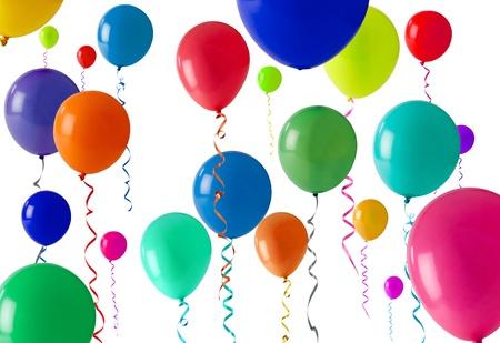 streamers: Gran cantidad de globos de colores como una textura de fondo Foto de archivo