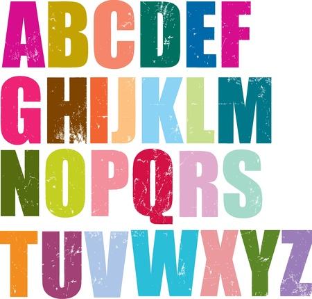 cartas antiguas: letras de tipograf�a individuales del conjunto ingl�s Vectores