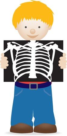 x 線、健康、病院の実例を保持している小さな男の子のイラスト
