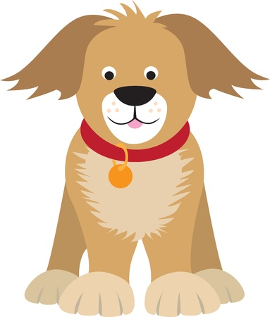 cute illustration of a puppy dog on white background Vector