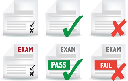 icon and symbol set of exam papers pass and fail Vector