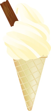 mr: 99 mr whippy style icecream with flake Illustration