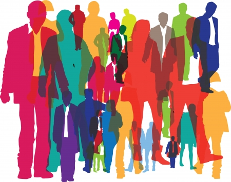 many people: illustration of different people as a background