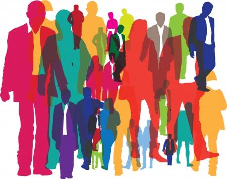 multitud gente: Ilustraci�n de diferentes personas como fondo Foto de archivo