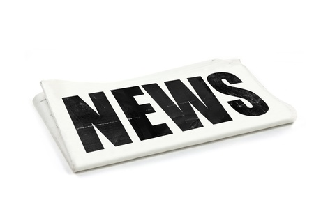 inform information: the word news as a headline on a newspaper