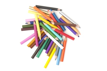 All different colours of pencil on a white background Stock Photo - 9243112