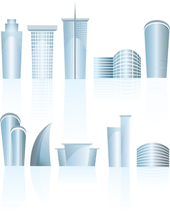 illustrstion of a set of skyscrapers, towers and business buildings