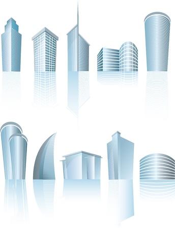 illustratie van zakelijke stadsgebouwen op wit Vector Illustratie