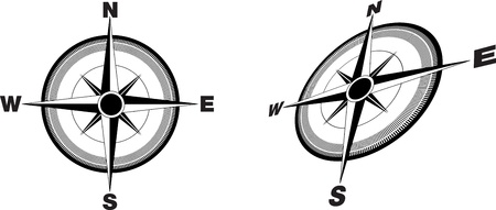 illustration of a compass flat and at an angle Illustration