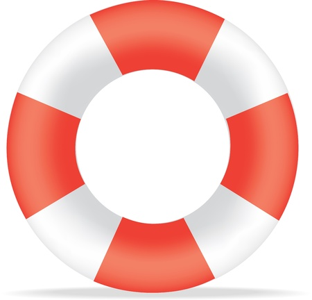bouy: Illustration of a striped red and white life saving buoy