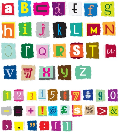 different styles of ransom style designed alphabet and numbers Vector