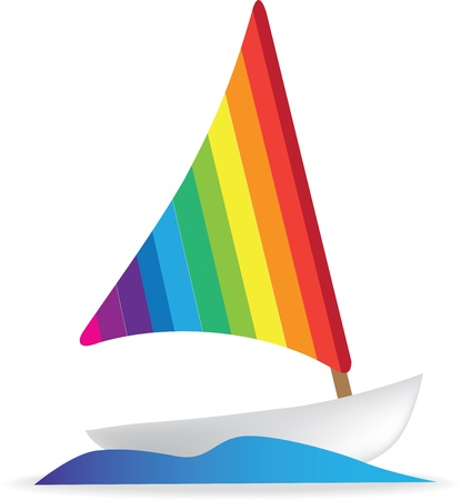simple illustration of a sailing boat or yacht Stock Vector - 9304786