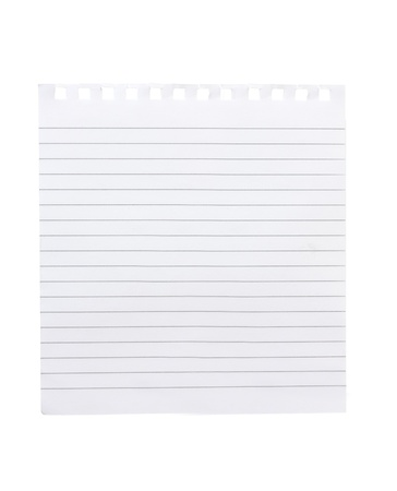 note book style lined paper isolated on a white background Stock Photo
