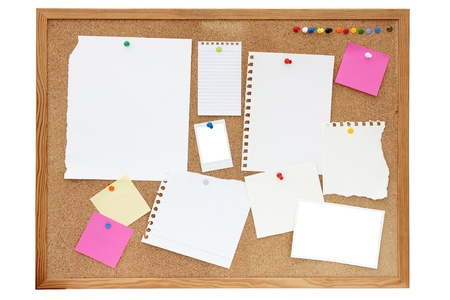 empty paper, documents, photos and notes pinned onto a pinboard or noticeboard photo