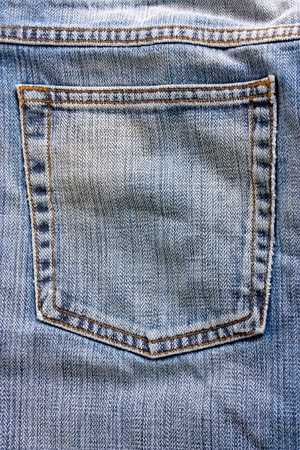 back pocket: macro studio shot of close up of jeans back pocket