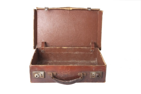 old brown vintage antique open empty suitcase on white photo