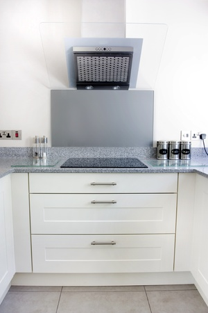 extractor: modern white kitchen extractor fan and hob