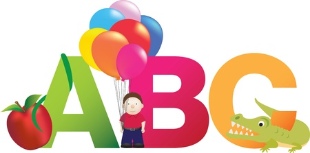 The letters abc made up from alphabet cartoon letters with matching animals and objects Ilustração