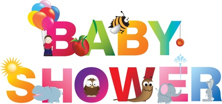 The words baby shower  made up from alphabet cartoon letters with matching animals and objects