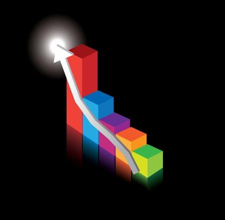 pointing up: illustrazione di grafici a barre del grafico delle prestazioni con la freccia rivolta verso l'alto al miglioramento e alla crescita Vettoriali