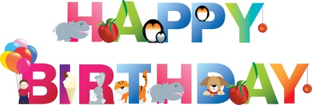 The word happy birthday  made up from alphabet cartoon letters with matching animals and objects Illustration