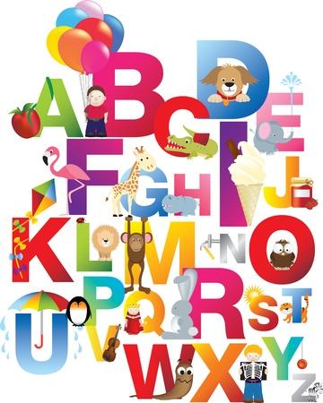 alfabeto con animales: Los ni�os completas ingl�s alfabeto precis� con diversi�n diferente dibujos animados animales y juguetes Vectores