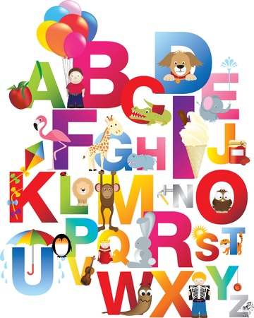 The complete childrens english alphabet spelt out with different fun cartoon animals and toys Stock Vector - 9572513